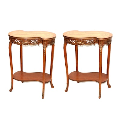 Pair of Rococo Style Marquetry and Mahogany End Tables