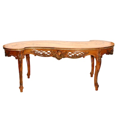 Italian Mahogany and Marquetry Scroll-Shaped Table, 20th Century