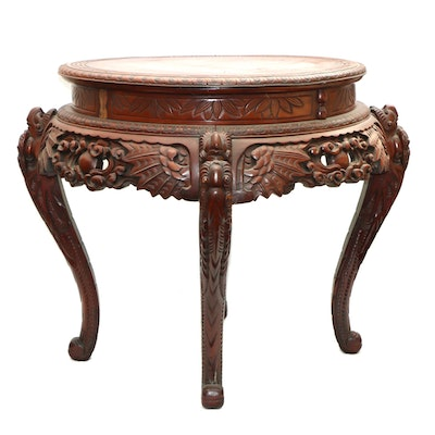 Chinese Carved Wood and Leather-Top Table, 20th Century