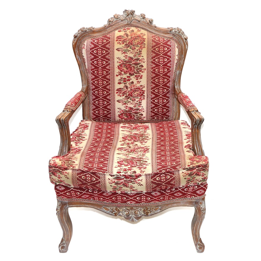 Louis XV Style Carved Beech and Tapestry-Upholstered Armchair