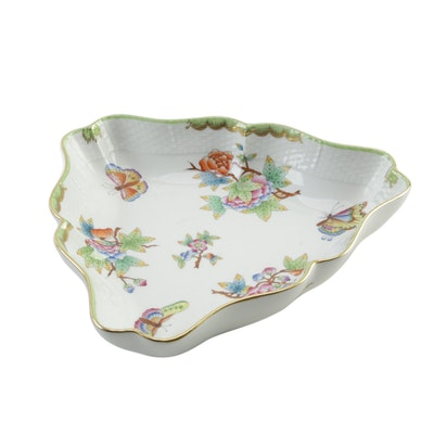 "Herend ""Queen Victoria"" Porcelain Triangular Vegetable Bowl"