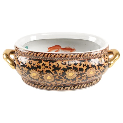 Chinese Hand-Painted Porcelain Two-Handled Foot Bath Basin