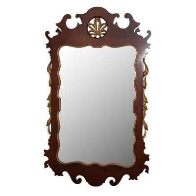 Chippendale Style Mahogany Veneer Wall Mirror, Mid to Late 20th Century