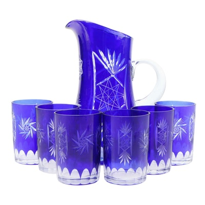 "Cobalt Cut to Clear ""Hobstar"" Pitcher and Tumblers"