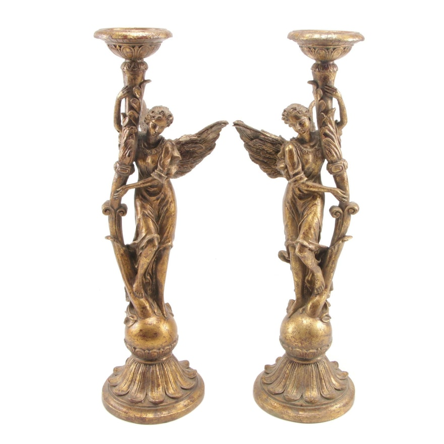 Art Nouveau Style Cast Brass Angel Candle Holders, Early to Mid-20th C.