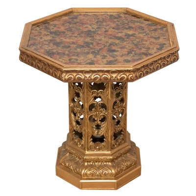 Gold-Painted and Paint-Decorated Wood Octagonal End Table