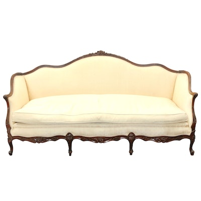 Louis XV Style Walnut Upholstered Settee, Late 20th Century