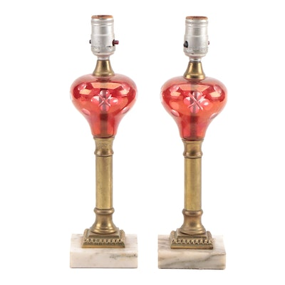 Pair of Victorian Style Ruby Cut-to-Clear Glass and Marble Converted Table Lamps