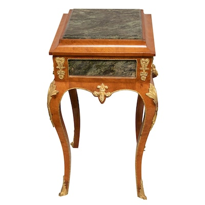 Louis XV Style Gilt-Metal, Marble Inlaid Wooden Side Table