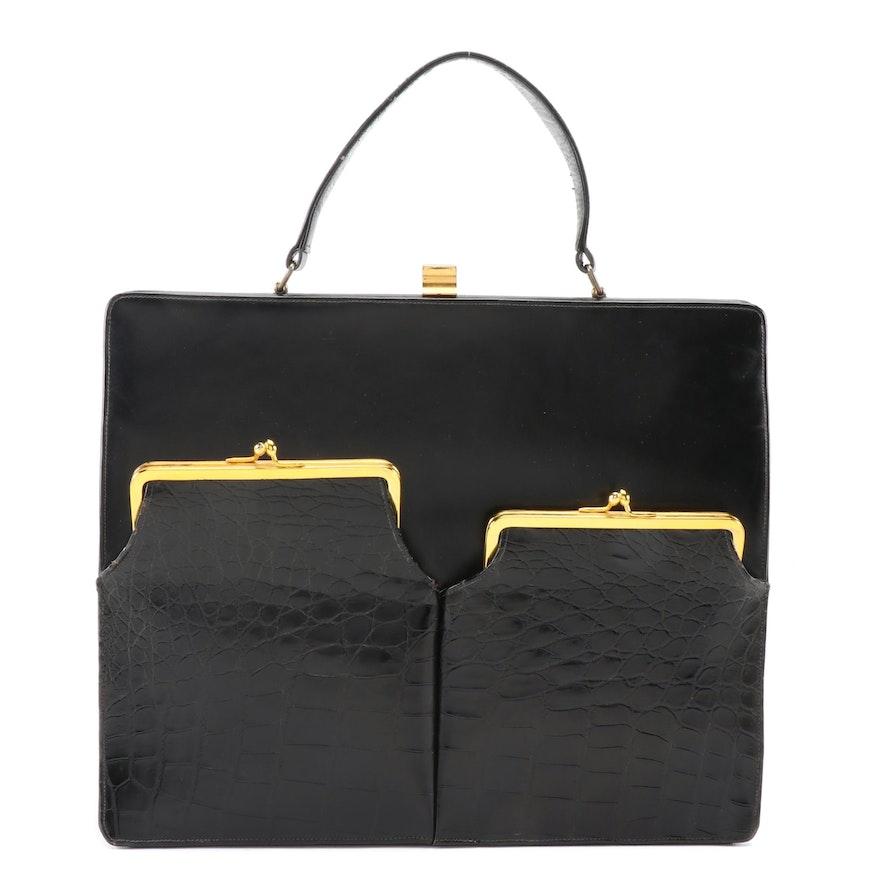 Jerry Moss' Holiday Large Black Crocodile and Leather Handbag, 1960s Vintage
