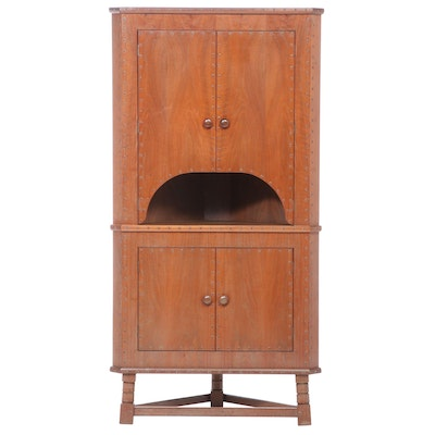 Arts & Crafts Stained Wood Corner Cabinet, Early 20th Century