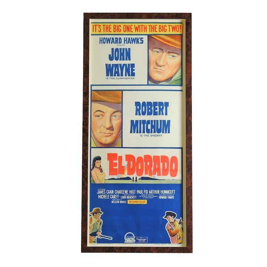 """Framed """"El Dorado"""" Lithograph Insert Movie Poster, Mid 20th Century"""