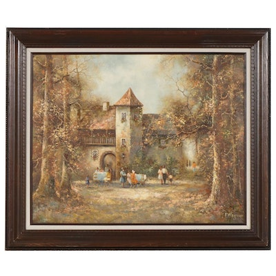Impressionist Style Oil Painting of European Park Patio Scene
