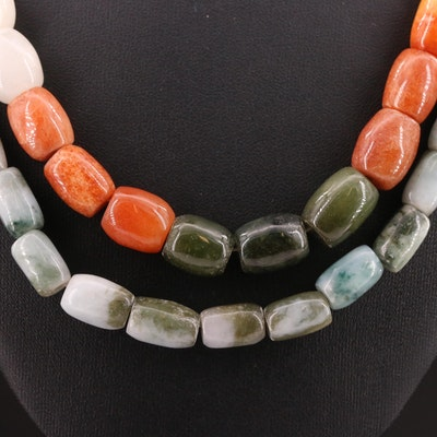 Jadeite and Quartz Beaded Necklaces