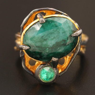 Sterling Sillimanite and Glass Ring