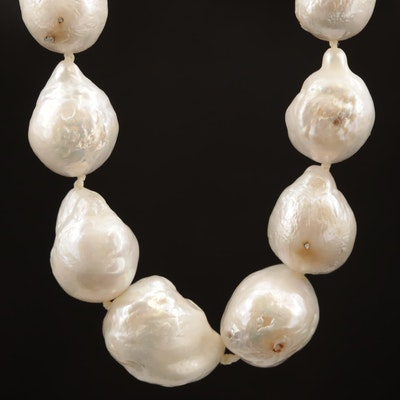 Baroque Pearl Knotted Necklace with 14K Diamond Accented Clasp