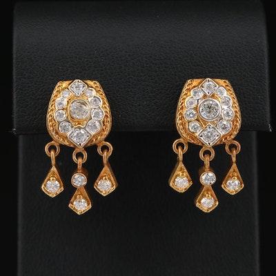 14K 1.78 CTW Diamond Stud Earrings with Dangles
