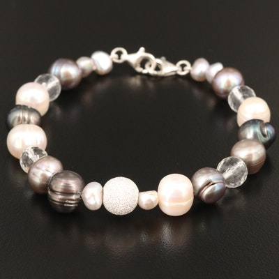 Pearl and Rock Crystal Quartz Bracelet with Sterling Clasp