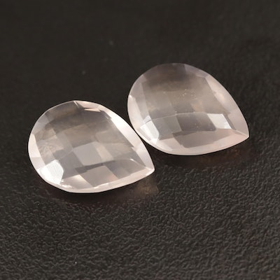 Loose 10.00 CTW Checkerboard Pear Faceted Rose Quartz