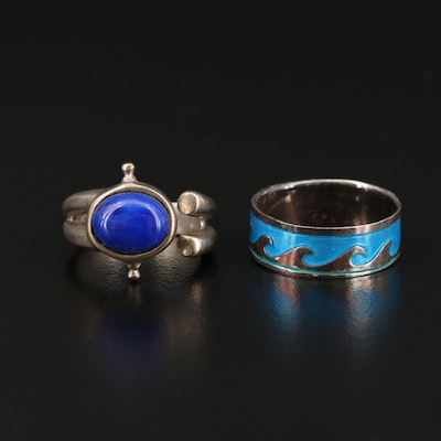 Sterling Silver Lapis Lazuli and Blue Enamel Rings
