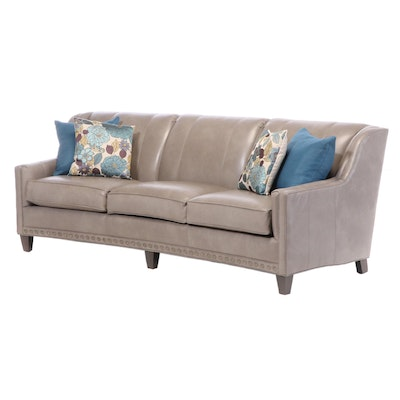 Smith Brothers of Berne Leather Conversation Sofa with Nailhead Trim