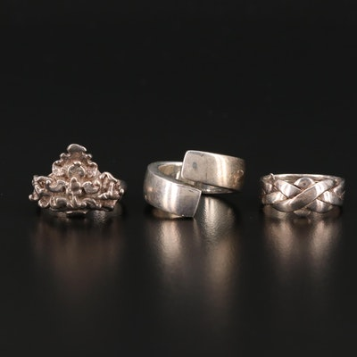Sterling Silver Rings Including Bypass and Puzzle Ring