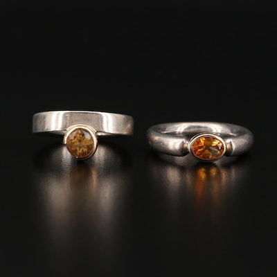 Sterling Silver Citrine Solitaire Rings with 14K Accents
