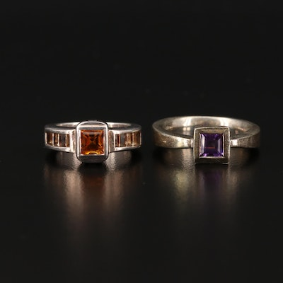 Sterling Silver Citrine and Amethyst Rings