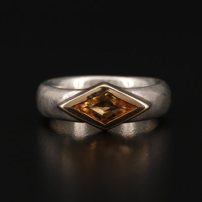 Sterling Silver Citrine Solitaire Ring