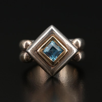 Sterling Silver Topaz Ring with 14K Accent