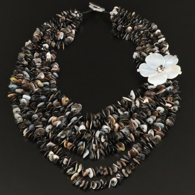 Shell and Mother of Pearl Flower Motif Multi-Strand Necklace