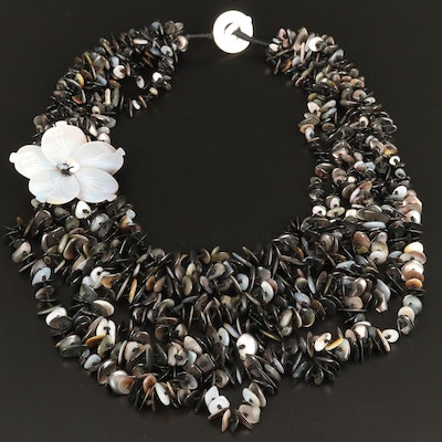Shell and Mother of Pearl Floral Multi-Strand Necklace