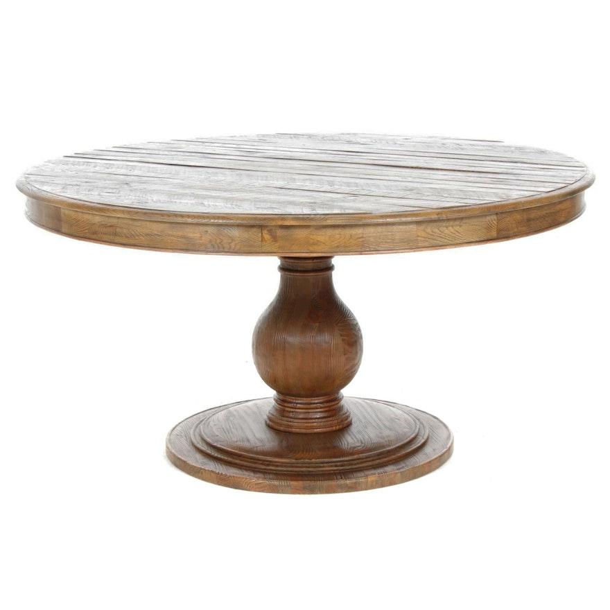 Arhaus Furniture Recycled Oak Pedestal Dining Table, 21st Century
