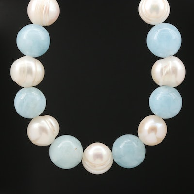 Pearl and Aquamarine Necklace with Sterling Silver Clasp