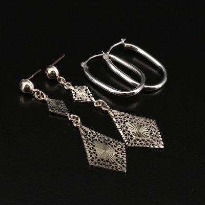 14K Filigree Dangle and Elongated Hoop Earrings