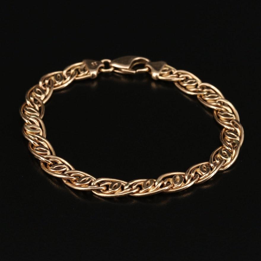 14K Fancy Infinity and Curb Link Bracelet
