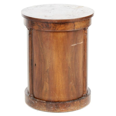 Cylindrical Mahogany Side Table, Mid 20th Century
