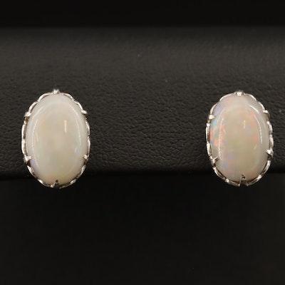 Sterling Silver Opal Oval Earrings