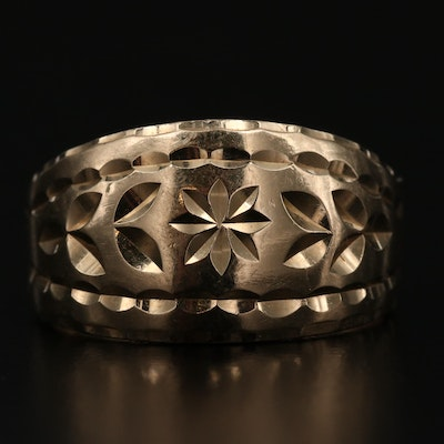 14K Gold Diamond Cut Tapered Band with Floral Motif Design