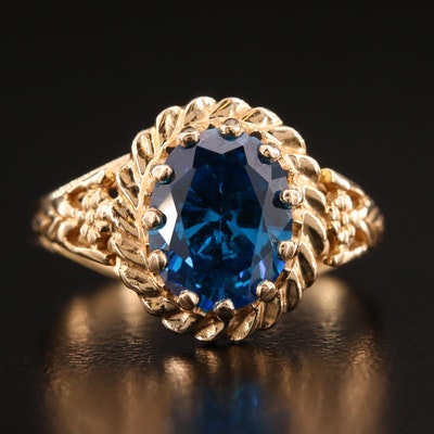 14K Cubic Zirconia Ring Featuring Scalloped Setting