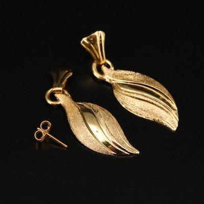 18K Flame Motif Dangle Earrings