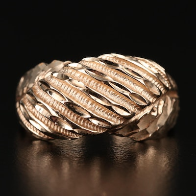 14K Gold Fluted Dome Ring
