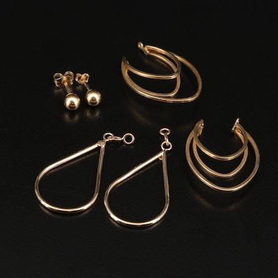 14K Ball Stud Earrings with Dangle Earring Jackets