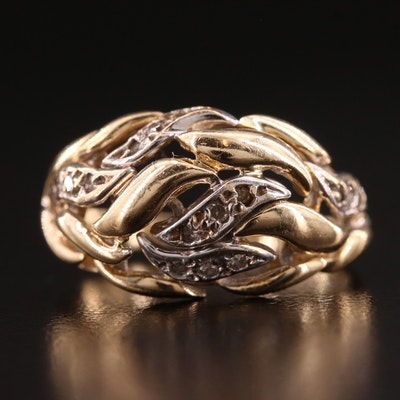 14K Two-Tone Diamond Dome Ring