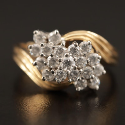 14K Cubic Zirconia Bypass Cluster Ring