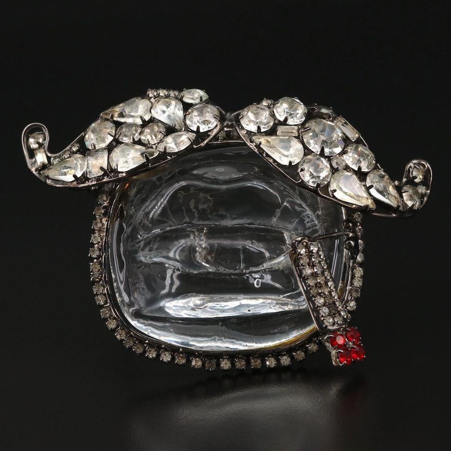 Custom Lawrence Vrba Large Scale Mustache and Cigarette Brooch