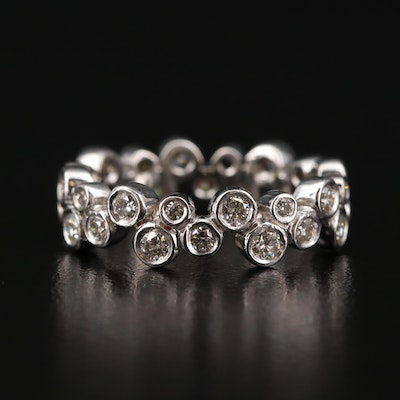 Platinum 1.04 CTW Diamond Bubble Style Eternity Band