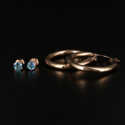 14K Topaz Studs and  Hoop Earrings