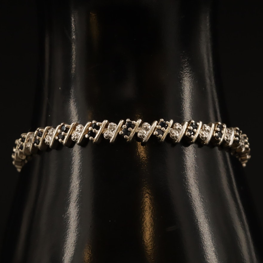 Sterling Sapphire and Diamond Bracelet