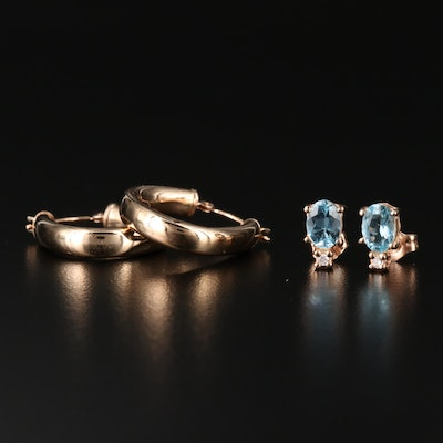14K Hoops and Topaz and Diamond Stud Earrings